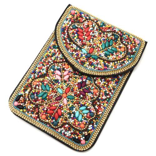Mini-Pochette-Sac-Bandouliere-avec-Motif-Fleur-Pierres-et-Perles-Rocaille-Multicolore