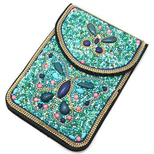 Mini-Pochette-Sac-Bandouliere-avec-Motif-Papillon-Pierres-et-Perles-Rocaille-Turquoise