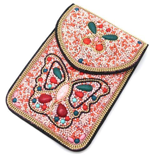 Mini-Pochette-Sac-Bandouliere-avec-Motif-Papillon-Pierres-et-Perles-Rocaille-Rose