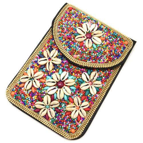 Mini-Pochette-Sac-Bandouliere-avec-Fleurs-Coquillages-Pierres-et-Perles-Rocaille-Multicolore