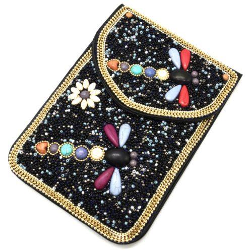 Mini-Pochette-Sac-Bandouliere-avec-Libellules-Pierres-et-Perles-Rocaille-Noir