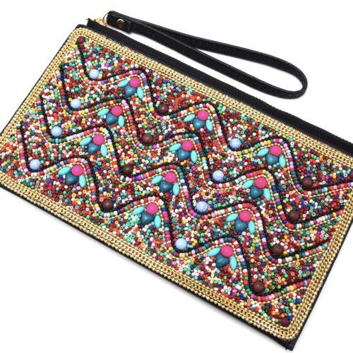 Pochette-Sac-Rectangle-avec-Motif-Vagues-Pierres-et-Perles-Rocaille-Multicolore