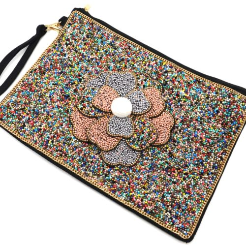 Grande-Pochette-Sac-Rectangle-avec-Fleur-Multi-Couches-Perles-Rocaille-Multicolore