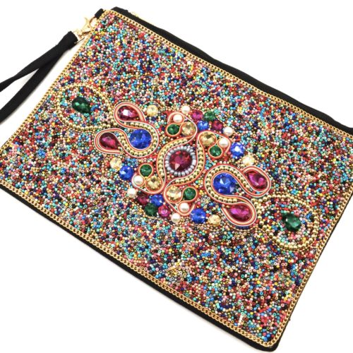 Grande-Pochette-Sac-Rectangle-avec-Motif-Pierres-et-Perles-Rocaille-Multicolore