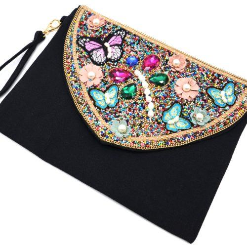 Grande-Pochette-Sac-avec-Rabat-Papillons-Pierres-Fleurs-et-Perles-Rocaille-Multicolore