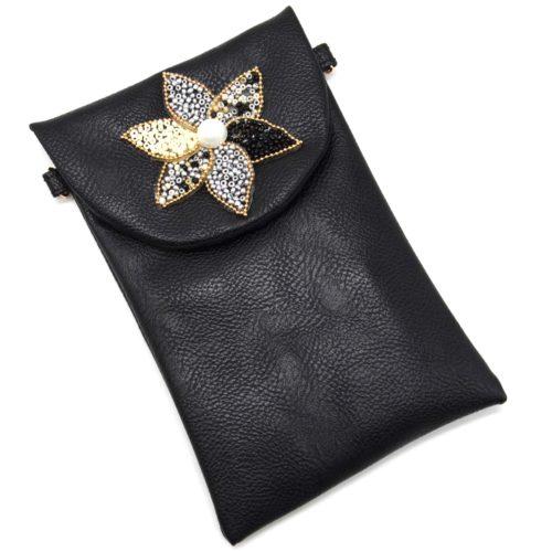 Mini-Pochette-Sac-Bandouliere-Simili-Cuir-Noir-avec-Fleur-Petales-Perles-Rocaille