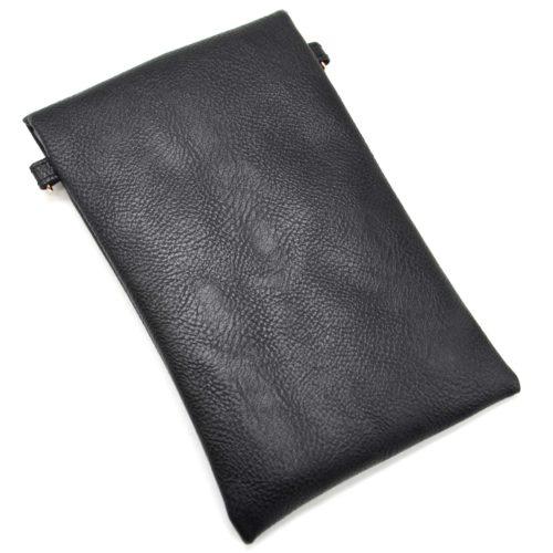 Mini-Pochette-Sac-Bandouliere-Simili-Cuir-Noir-avec-Perles-Rocaille