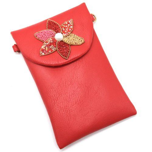 Mini-Pochette-Sac-Bandouliere-Simili-Cuir-Rouge-avec-Fleur-Petales-Perles-Rocaille