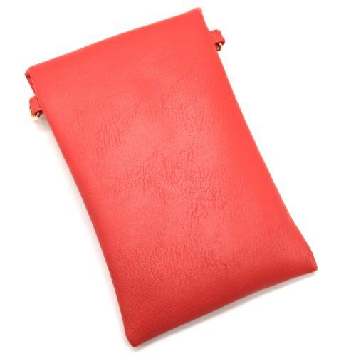 Mini-Pochette-Sac-Bandouliere-Simili-Cuir-Rouge-avec-Perles-Rocaille