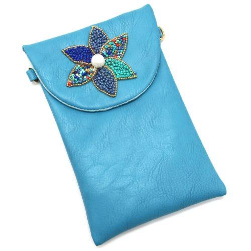 Mini-Pochette-Sac-Bandouliere-Simili-Cuir-Bleu-avec-Fleur-Petales-Perles-Rocaille