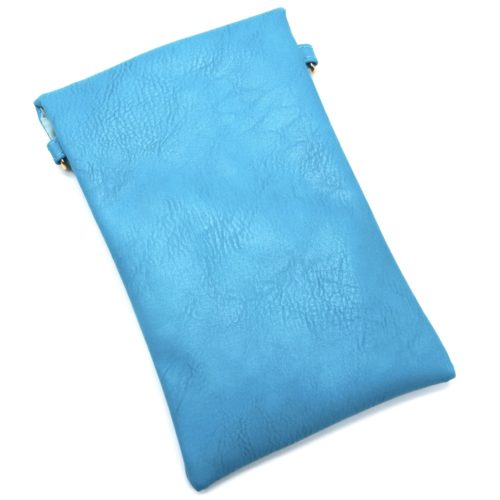 Mini-Pochette-Sac-Bandouliere-Simili-Cuir-Bleu-avec-Perles-Rocaille