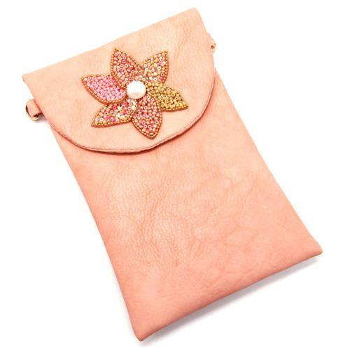 Mini-Pochette-Sac-Bandouliere-Simili-Cuir-Rose-avec-Fleur-Petales-Perles-Rocaille