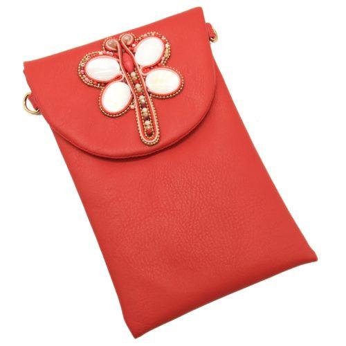 Mini-Pochette-Sac-Bandouliere-Simili-Cuir-Rouge-avec-Libellule-Nacre-Pierres-Perles-Rocaille
