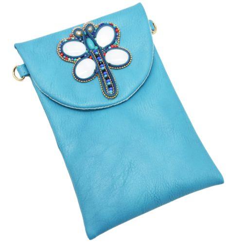 Mini-Pochette-Sac-Bandouliere-Simili-Cuir-Bleu-avec-Libellule-Nacre-Pierres-Perles-Rocaille