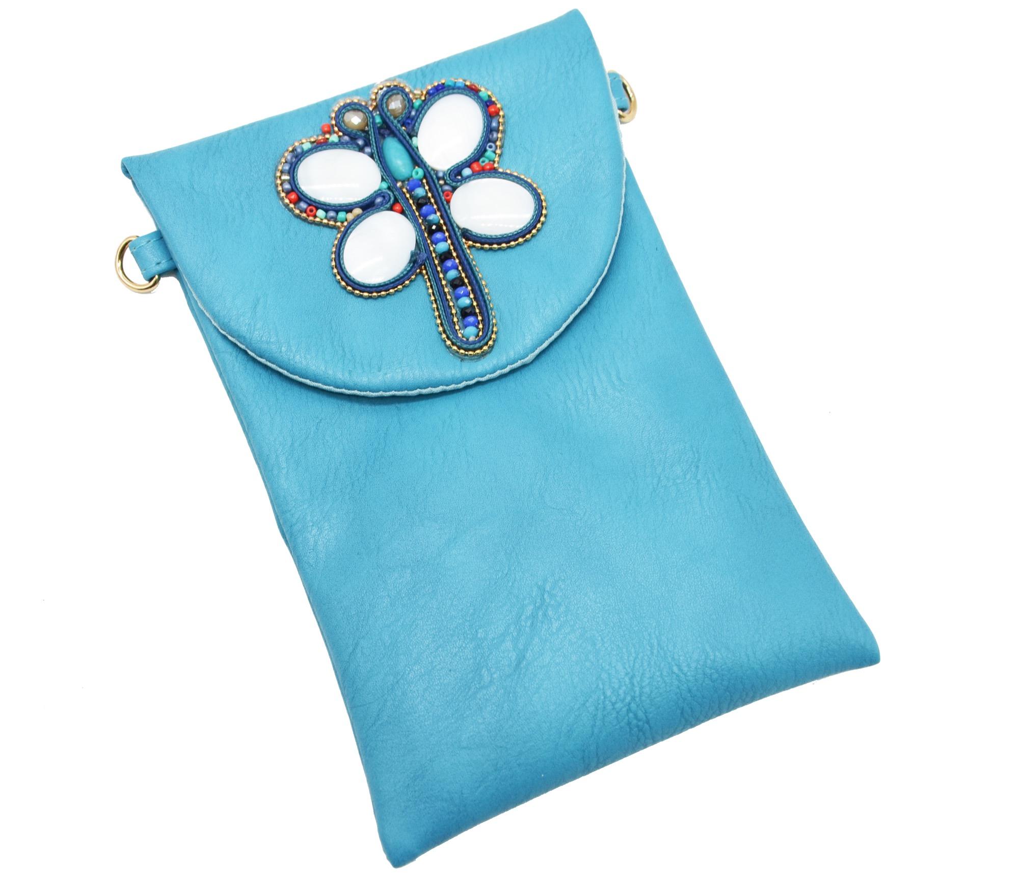 Pochette Avec Libellule Pch42 Simili Sac Bleu Mini Cuir POTXZiuk