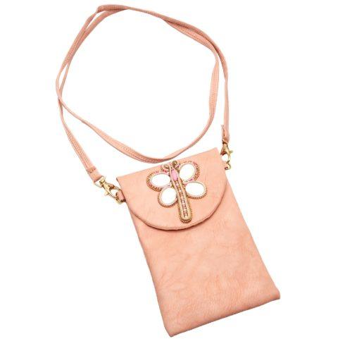 Mini-Pochette-Sac-Bandouliere-Simili-Cuir-Rose-avec-Libellule-Nacre-Pierres-Perles-Rocaille