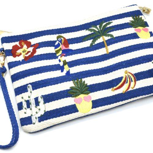 Pochette-Sac-Tissu-Mariniere-Rayures-Bleu-avec-Motifs-Exotiques