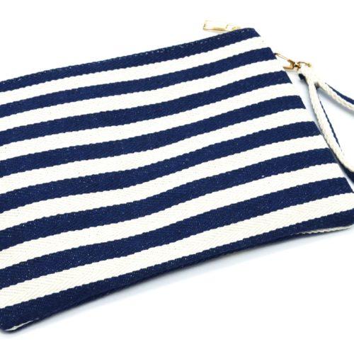 Pochette-Sac-Tissu-Mariniere-Rayures-Bleu-Marine-avec-Motifs-Exotiques