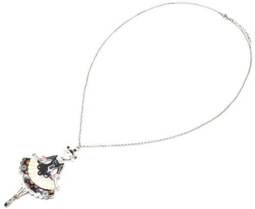Sautoir-Collier-Pendentif-Poupee-Robe-Marquise-Email-Noir-et-Metal-Argente