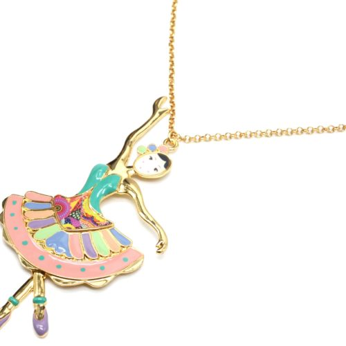 Sautoir-Collier-Pendentif-Poupee-Danseuse-Robe-Bustier-Email-Multicolore-et-Metal-Dore