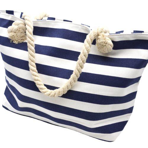 Grand-Sac-Cabas-de-Plage-Imprime-Rayures-Bleu-Marine-et-Anses-Corde