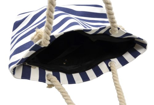 Grand-Sac-Cabas-de-Plage-avec-Imprime-Rayures-Bleu-Marine-et-Anses-Corde-Torsadee