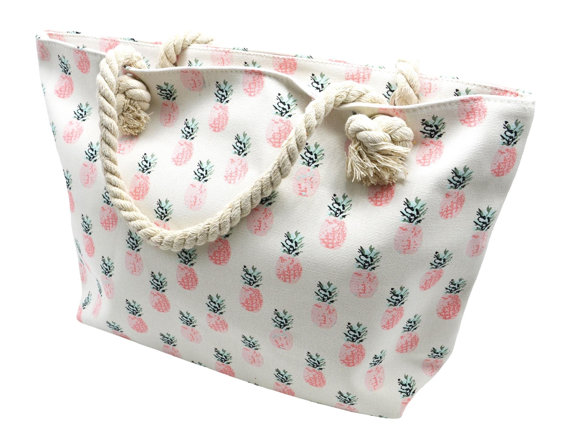 atb08 grand sac cabas de plage avec imprim ananas rose et anses corde torsad e oh my shop. Black Bedroom Furniture Sets. Home Design Ideas