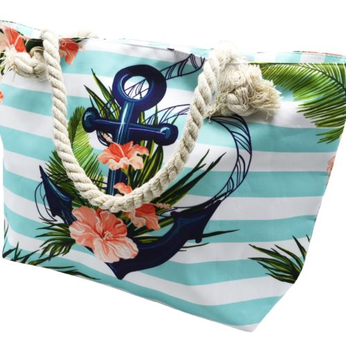Grand-Sac-Cabas-de-Plage-avec-Imprime-Rayures-Bleu-Ancre-et-Anses-Corde-Torsadee