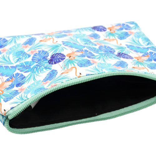 Trousse-Pochette-Souple-Blanc-Imprime-Jungle-Flamant-Rose