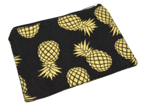 Trousse-Pochette-Rangement-Tissu-Noir-Imprime-Ananas-Dore