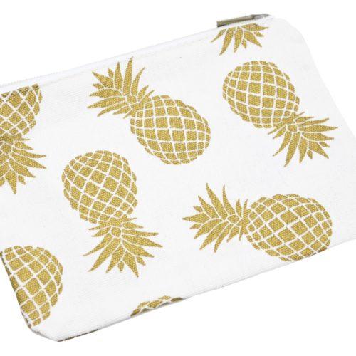 Trousse-Pochette-Rangement-Tissu-Blanc-Imprime-Ananas-Dore