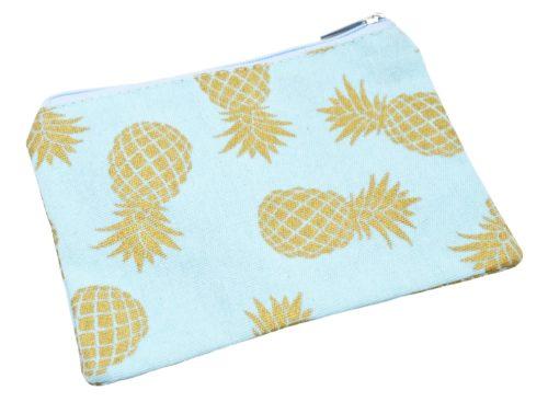 Trousse-Pochette-Rangement-Tissu-Bleu-Imprime-Ananas-Dore