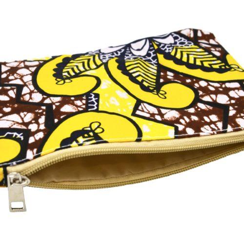 Trousse-Pochette-Tissu-Wax-Africain-Marron-Imprime-Fleur-Motifs