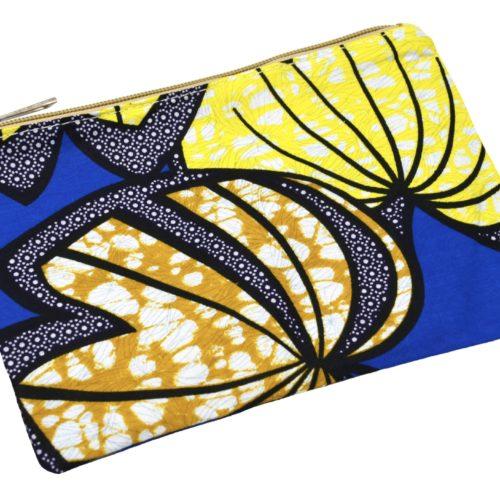 Trousse-Pochette-Tissu-Wax-Africain-Bleu-Imprime-Feuilles-Motifs
