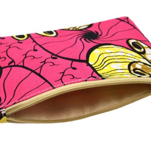 Trousse-Pochette-Tissu-Wax-Africain-Rose-Imprime-Fleur-Motifs