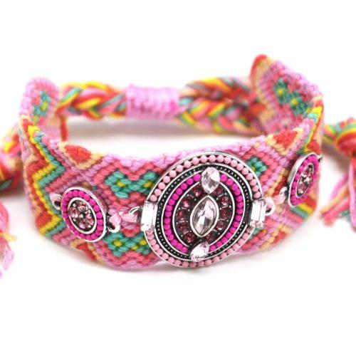 Bracelet-Manchette-Bresilien-Fils-Tresses-avec-Ovale-Pierres-Perles-Rose