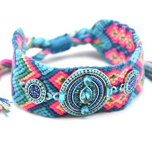 Bracelet-Manchette-Bresilien-Fils-Tresses-avec-Ovale-Pierres-Perles-Bleu-Turquoise