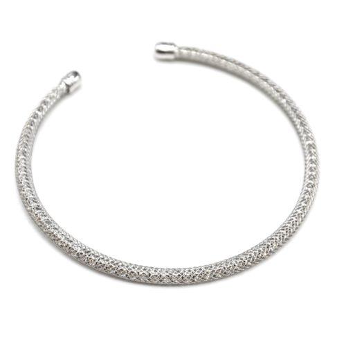 Bracelet-Jonc-Ouvert-Tube-Grille-Metal-Argente-avec-Interieur-Strass