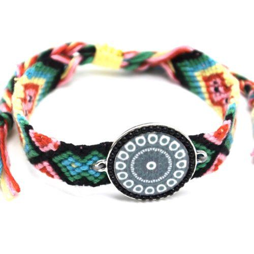 Bracelet-Manchette-Bresilien-Fils-Tresses-avec-Cercle-Motif-Nacre-et-Perles-Noir