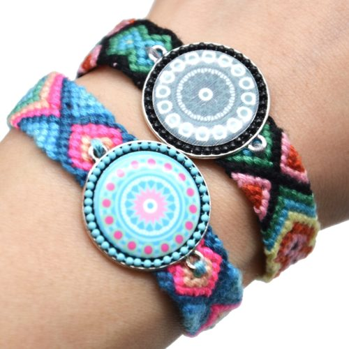 Bracelet-Manchette-Bresilien-Fils-Tresses-avec-Cercle-Motif-Nacre-et-Perles