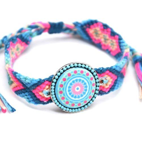 Bracelet-Manchette-Bresilien-Fils-Tresses-avec-Cercle-Motif-Nacre-et-Perles-Bleu