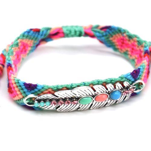 Bracelet-Manchette-Bresilien-Fils-Tresses-avec-Plume-Metal-Argente-et-Perles-Multicolore