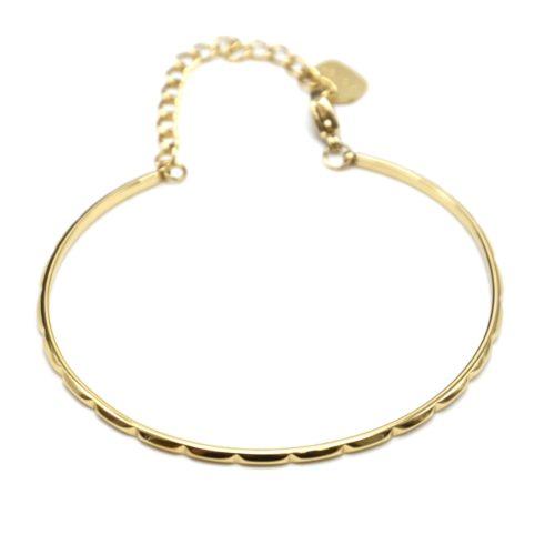 Bracelet-Jonc-Fin-et-Chaine-Acier-Dore-avec-Multi-Encoches