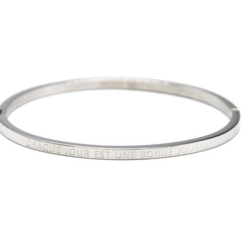 Bracelet Jonc Fin Acier Argenté avec Message Super Tata BC3189F