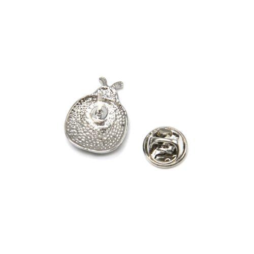 Mini-Broche-Pins-Coccinelle-Motif-Fleuri-et-Metal-Argente