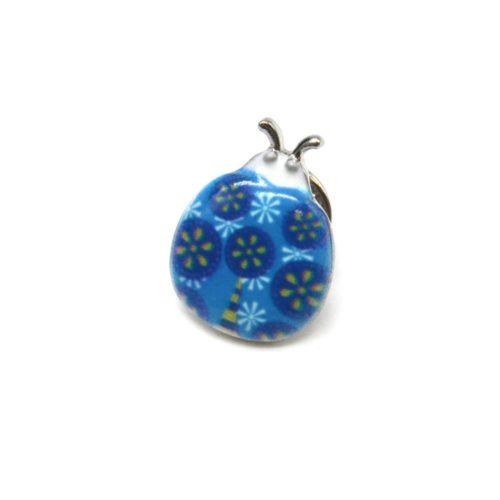 Mini-Broche-Pins-Coccinelle-Motif-Fleuri-Bleu-et-Metal-Argente