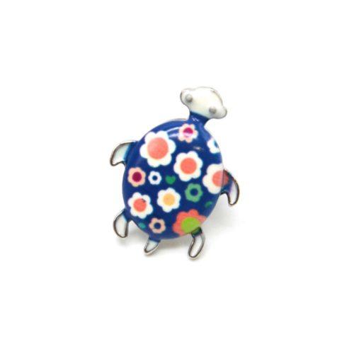 Mini-Broche-Pins-Tortue-Motif-Fleuri-Bleu-Blanc-et-Metal-Argente