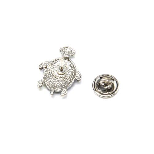 Mini-Broche-Pins-Tortue-Motif-Fleuri-et-Metal-Argente