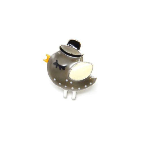 Mini-Broche-Pins-Oiseau-Email-Gris-Chapeau-et-Metal-Argente