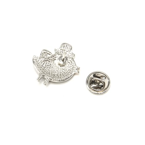 Mini-Broche-Pins-Oiseau-Email-Chapeau-et-Metal-Argente